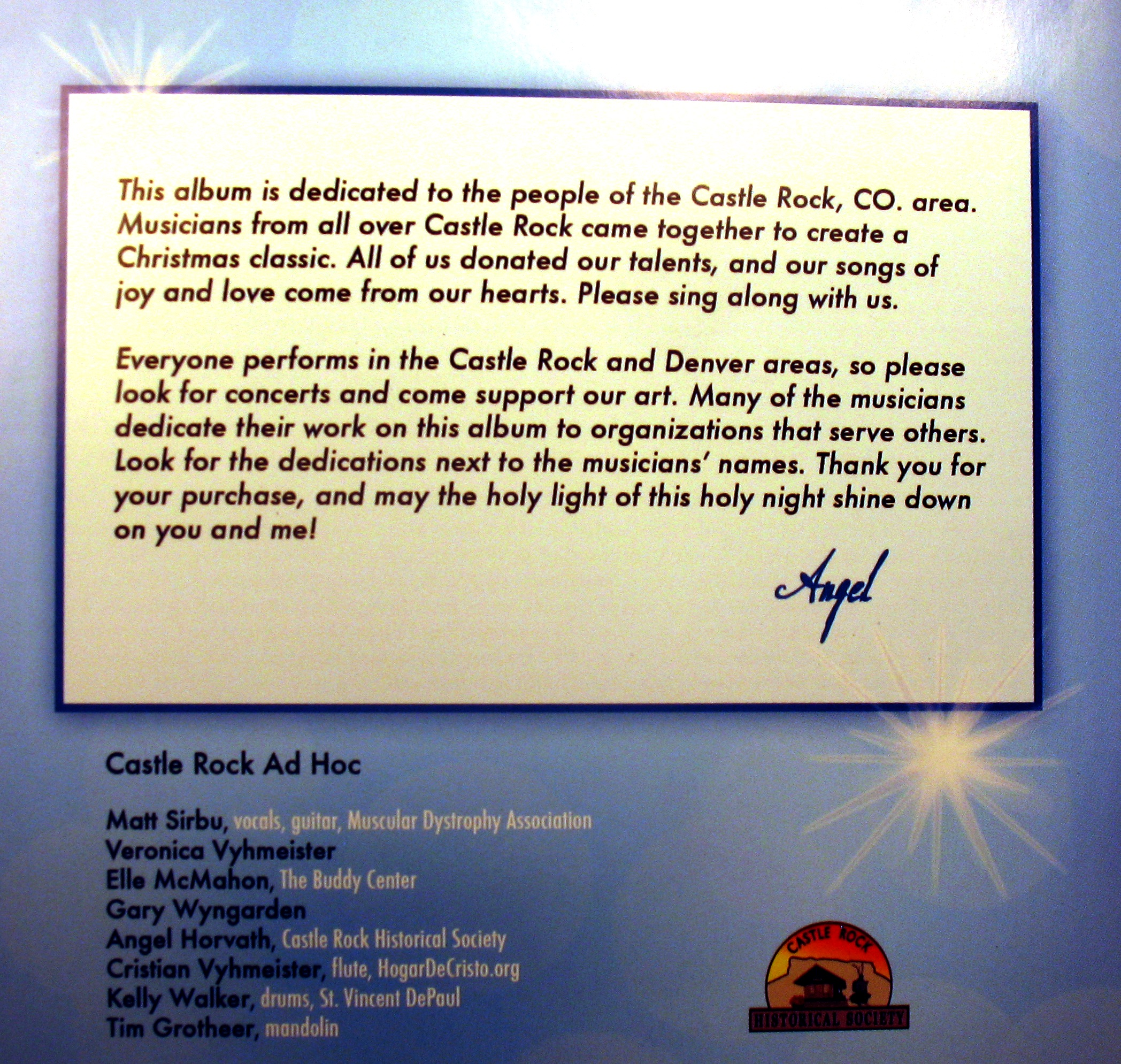 Castle Rock Christmas CD | Castle Rock Historical Society and Museum